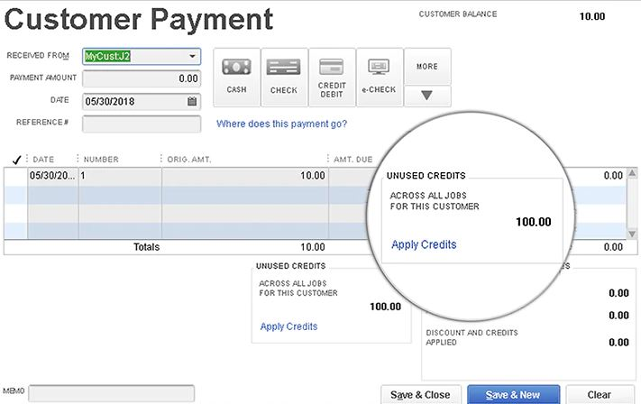 Efficient workflow with a just 1-click credits transfer across customer jobs using QuickBooks