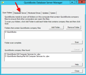 QuickBooks server database manager