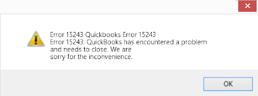 Quickbooks error 15243
