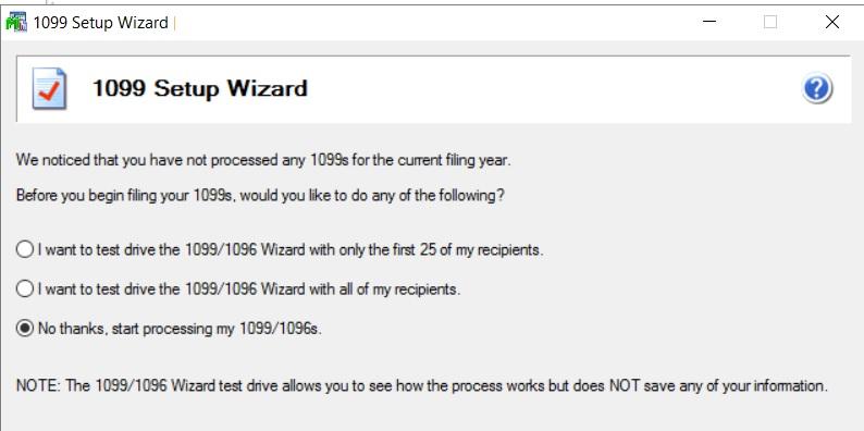 1099 setup wizard