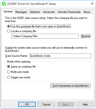 Test Connection to QuickBooks