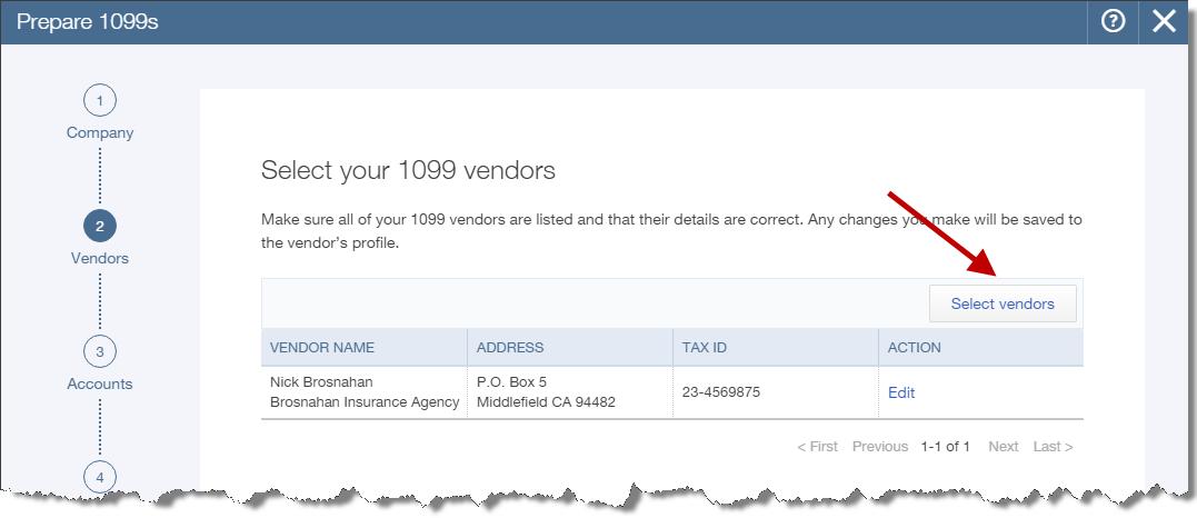 Select 1099 vendors