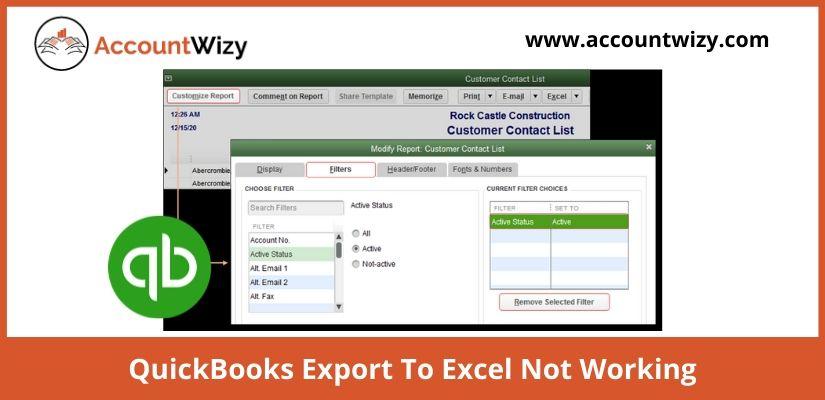 QuickBooks Export To Excel Not Working