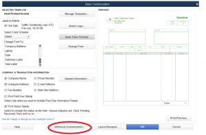 ivoice tamplate in Quickbooks