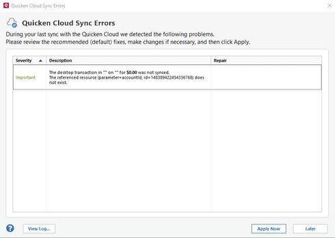 Quicken Cloud Sync Errors