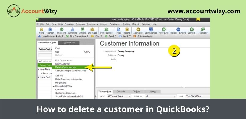 How to delete a customer in QuickBooks?