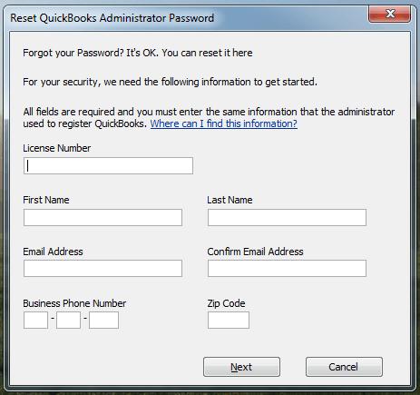 How to reset QuickBooks password