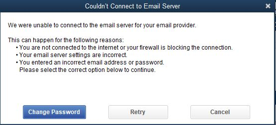 could not connect to email server