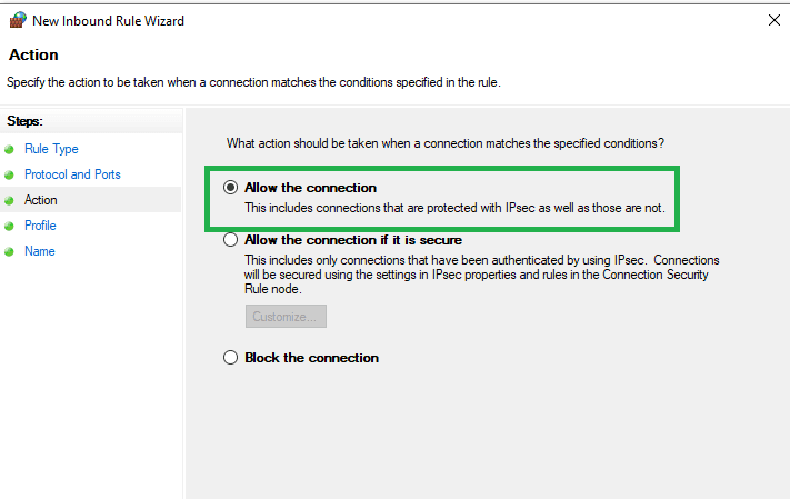 Allow the connection option