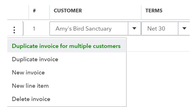 Duplicate Invoice for Multiple Customers