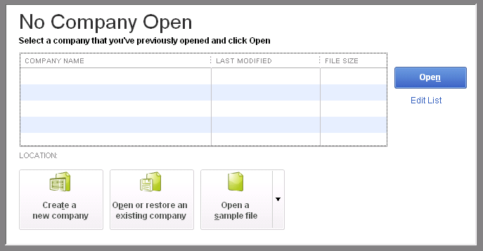set up a new comapny file in QuickBooks