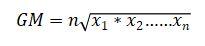 Formula of geometric mean
